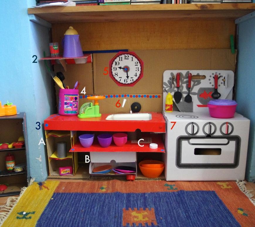 cucina giocattolo con cartone
